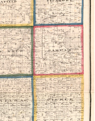 Pampas, Illinois 1860 Old Town Map Custom Print - DeKalb Co.