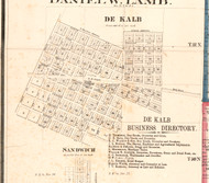 DeKalb Village - DeKalb Co., Illinois 1860 Old Town Map Custom Print - DeKalb Co.
