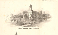 County Courthouse - Sycamore, Illinois 1860 Old Town Map Custom Print - DeKalb Co.