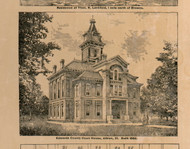 County Court House - Edwards Co., Illinois 1891 Old Town Map Custom Print - Edwards Co.