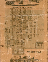 Greenfield Village - Greene Co., Illinois 1861 Old Town Map Custom Print - Greene Co.
