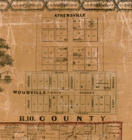 Athensville and Woodville Villages - Greene Co., Illinois 1861 Old Town Map Custom Print - Greene Co.