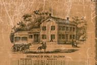 Res. of Ben. R. Baldwin - Greene Co., Illinois 1861 Old Town Map Custom Print - Greene Co.