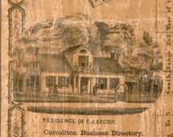 Res. of E.J. Secor - Greene Co., Illinois 1861 Old Town Map Custom Print - Greene Co.