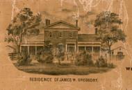 Res. of James W. Greggory - Greene Co., Illinois 1861 Old Town Map Custom Print - Greene Co.