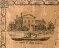 Res. of Jesse Baldwin - Greene Co., Illinois 1861 Old Town Map Custom Print - Greene Co.