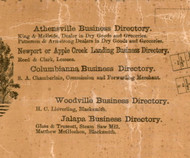 Athensville, Columbiana, Woodville, and Jalapa Business Directories - Greene Co., Illinois 1861 Old Town Map Custom Print - Greene Co.