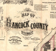Title of Source Map - Hancock Co., Illinois 1859 Old Town Map Custom Print - Hancock Co.
