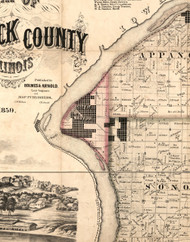 Nauvoo, Illinois 1859 Old Town Map Custom Print - Hancock Co.