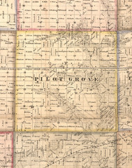 Pilot Grove, Illinois 1859 Old Town Map Custom Print - Hancock Co.