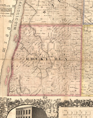 Rocky Run, Illinois 1859 Old Town Map Custom Print - Hancock Co.