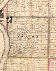 Sonora, Illinois 1859 Old Town Map Custom Print - Hancock Co.