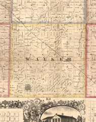 Walker, Illinois 1859 Old Town Map Custom Print - Hancock Co.