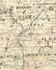 Aroma, Illinois 1860 Old Town Map Custom Print - Iroquois & Kankakee Cos.
