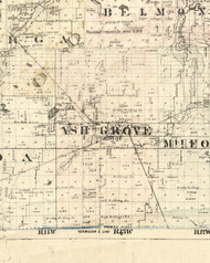 Ash Grove, Illinois 1860 Old Town Map Custom Print - Iroquois & Kankakee Cos.