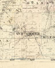 Ash Grove, Illinois 1860 Old Town Map Custom Print - Iroquois & Kankakee Cos.