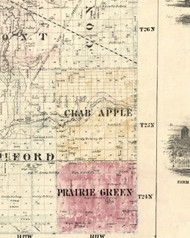 Crab Apple, Illinois 1860 Old Town Map Custom Print - Iroquois & Kankakee Cos.