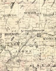 Gainier, Illinois 1860 Old Town Map Custom Print - Iroquois & Kankakee Cos.