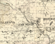 Lime Stone, Illinois 1860 Old Town Map Custom Print - Iroquois & Kankakee Cos.