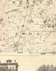 Loda, Illinois 1860 Old Town Map Custom Print - Iroquois & Kankakee Cos.
