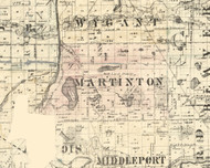 Martinton, Illinois 1860 Old Town Map Custom Print - Iroquois & Kankakee Cos.