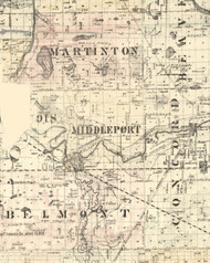 Middle Port, Illinois 1860 Old Town Map Custom Print - Iroquois & Kankakee Cos.