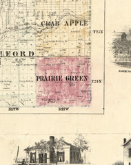 Prairie Green, Illinois 1860 Old Town Map Custom Print - Iroquois & Kankakee Cos.