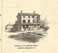 Cornell Bros Ashkum Hotel Ashkum - Iroquois & Kankakee Cos., Illinois 1860 Old Town Map Custom Print - Iroquois & Kankakee Cos.