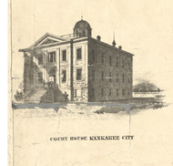Kankakee Court House - Iroquois & Kankakee Cos., Illinois 1860 Old Town Map Custom Print - Iroquois & Kankakee Cos.