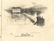 Kankakee Dam - Iroquois & Kankakee Cos., Illinois 1860 Old Town Map Custom Print - Iroquois & Kankakee Cos.