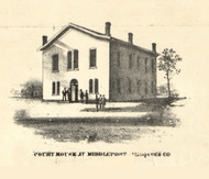 Middleport Courthouse - Iroquois & Kankakee Cos., Illinois 1860 Old Town Map Custom Print - Iroquois & Kankakee Cos.