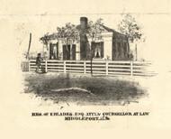 E Blades Esq Residence Middleport - Iroquois & Kankakee Cos., Illinois 1860 Old Town Map Custom Print - Iroquois & Kankakee Cos.