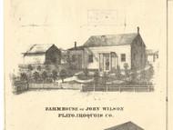 John Wilson Residence Plato - Iroquois & Kankakee Cos., Illinois 1860 Old Town Map Custom Print - Iroquois & Kankakee Cos.