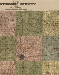 Fields, Illinois 1900 Old Town Map Custom Print - Jefferson Co.