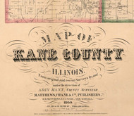 Title of Source Map - Kane Co., Illinois 1860 Old Town Map Custom Print - Kane Co.