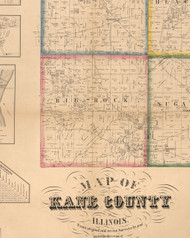 Big Rock, Illinois 1860 Old Town Map Custom Print - Kane Co.