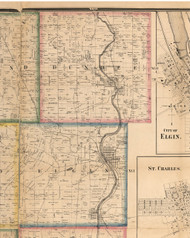 Dundee, Illinois 1860 Old Town Map Custom Print - Kane Co.