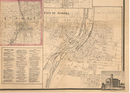 Aurora Village - Kane Co., Illinois 1860 Old Town Map Custom Print - Kane Co.