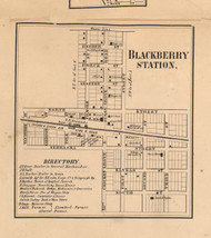 Blackberry Stations Village - Kane Co., Illinois 1860 Old Town Map Custom Print - Kane Co.