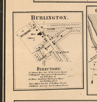 Burlington Village - Kane Co., Illinois 1860 Old Town Map Custom Print - Kane Co.