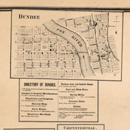 Dundee Village - Kane Co., Illinois 1860 Old Town Map Custom Print - Kane Co.
