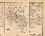 Elgin Village - Kane Co., Illinois 1860 Old Town Map Custom Print - Kane Co.