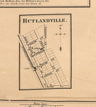 Rutlandville Village - Kane Co., Illinois 1860 Old Town Map Custom Print - Kane Co.