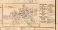 St Charles Village - Kane Co., Illinois 1860 Old Town Map Custom Print - Kane Co.