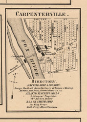 Carpenterville Village - Kane Co., Illinois 1860 Old Town Map Custom Print - Kane Co.