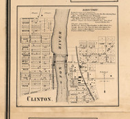 Clinton Village - Kane Co., Illinois 1860 Old Town Map Custom Print - Kane Co.