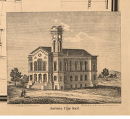 Aurora City Hall - Kane Co., Illinois 1860 Old Town Map Custom Print - Kane Co.