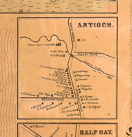 Antioch Village - Lake Co., Illinois 1861 Old Town Map Custom Print - Lake Co.
