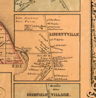 Libertyville Village - Lake Co., Illinois 1861 Old Town Map Custom Print - Lake Co.