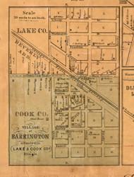 Barrington Village - Lake Co., Illinois 1861 Old Town Map Custom Print - Lake Co.